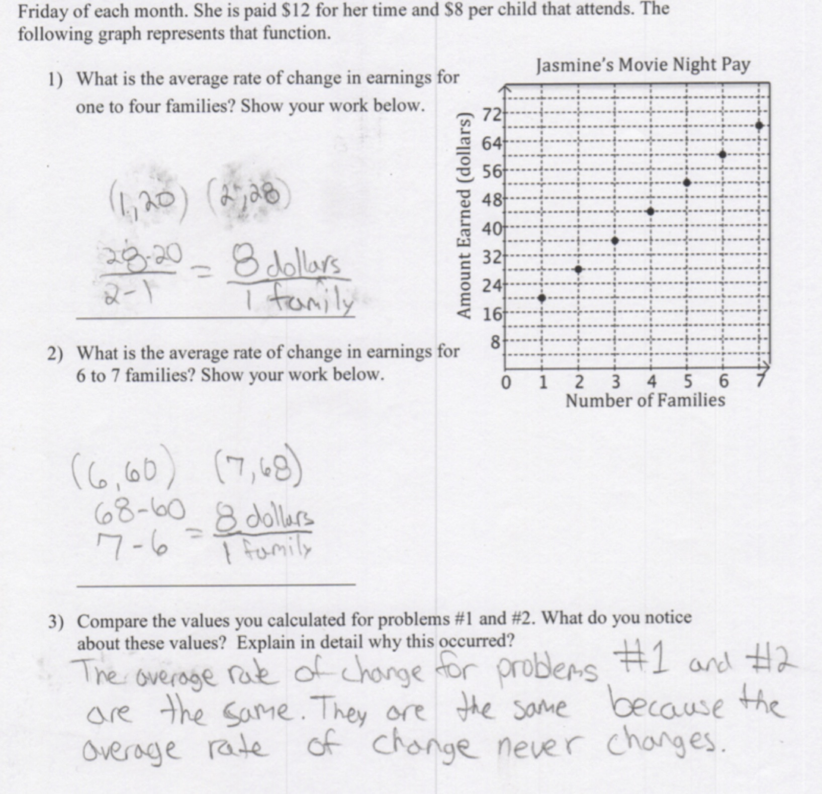 Identifying Rate of Change Students are asked to calculate and Intended For Constant Rate Of Change Worksheet